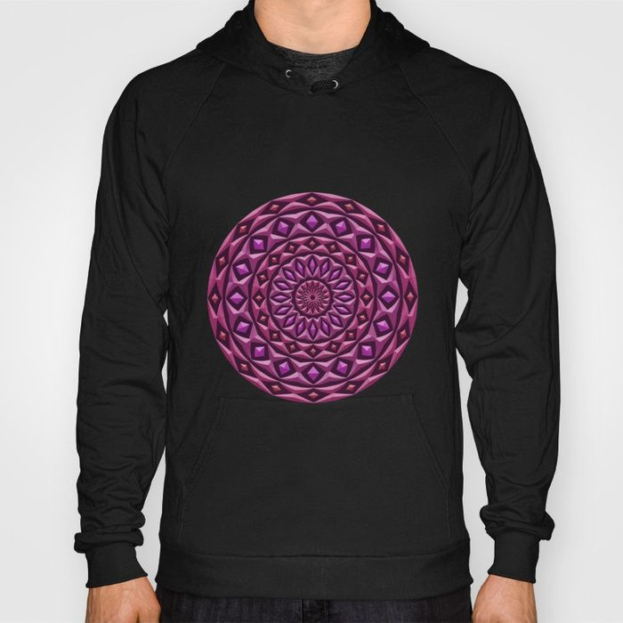 Carved in Stone Mandala Hooded Pullover by Terrella.  A mandala made of rings with diamond highlights, each has a stone texture and 3d appearance.