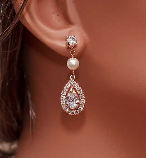 "JESS Collection Rose Gold Swarovski Pearl and CZ Bridal Earrings Beautiful earrings are handmade with sparkling Cubic Zirconia crystals, finished with Swarovski pearls Earrings measure about 1 1/2"" lo"