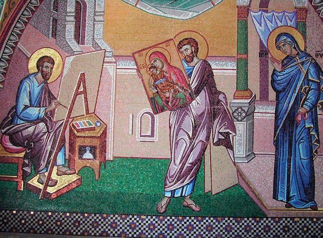 Православные иконы на Кипре - Святой Лука рисует икону с Девой Марией