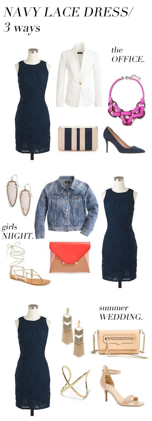 navy lace dress… 3 ways!