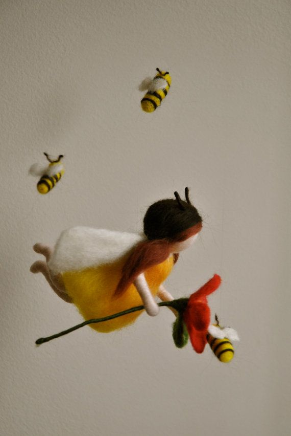 Children Mobile Waldorf inspired needle felted : Bees by MagicWool