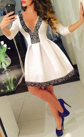 Lace Spliced Pleated Mini Dress