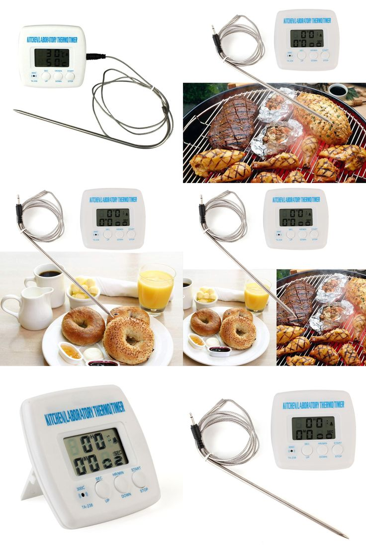 [Visit to Buy] 2 In 1 Kitchen Cooking Food Meat BBQ Probe Thermometer Timer Alarm Function LCD Display Thermometer TA238 with timer and 1m wire #Advertisement