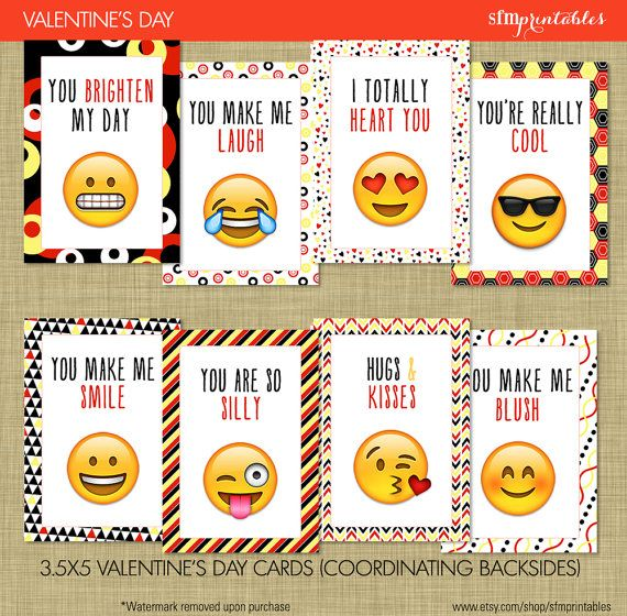 Instant Download - includes 2 PDFs, front side and backside to coordinate with each.  Emojis are all the rave for kids and tweens, and these adorable Emoji Valentines Day cards are perfect for classmates and friends. Featuring 8 unique designs and coordinating backsides with the most popular Emojis, and modern papers in black, yellow and red for unisex recipients.  Cards are 3.5x5 when cut and printed. Printing and Envelopes not included, digital design provided only.  Recommend printing on…