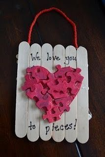 Love You To Pieces  Popsicle Sticks Valentines Day Art Project For Kids.