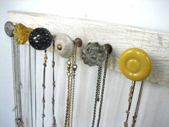 Door nobs as jewelry hangers.: Organization, Jewelry Hanger, Doorknob, Door Knobs, Necklace Holder, Necklaces, Craft Ideas, Diy