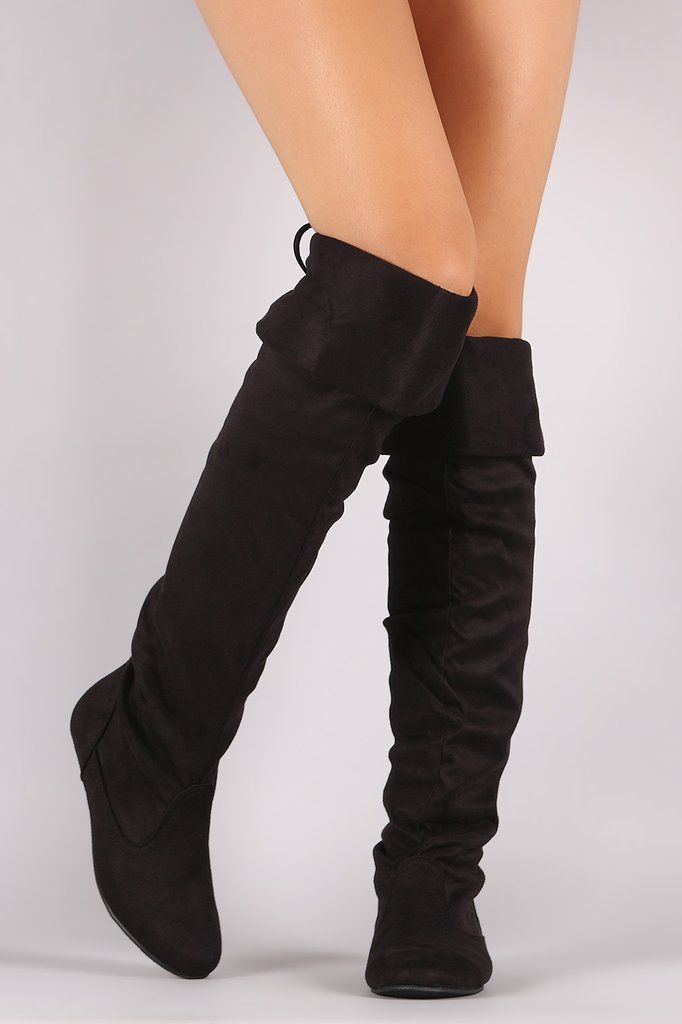 Suede Back Lace-Tie Cuff Knee High Flat Boots #shopping #womensfashion #boots #sale #womensshoes
