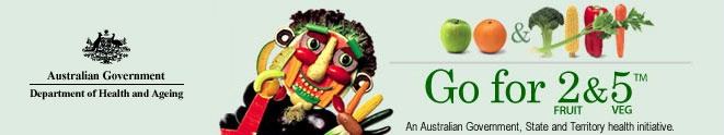 Australian Government - Department of Health and Ageing - Go for 2 & 5 Fruit and Veg logo including Vegie Man