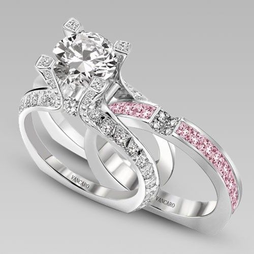 white and pink cubic zirconia 925 sterling silver white gold plated wedding ring set in la cathedrale style with black diamonds not pink zirconia - Black And Pink Wedding Ring Sets