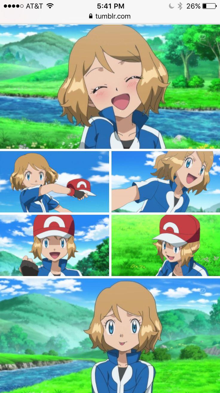Pokemon XYZ anime episode 22 Serena and Satoshi / Ash. Serena looks so KAWAII!!! <3 AMOURSHIPPING HEART ATTACK