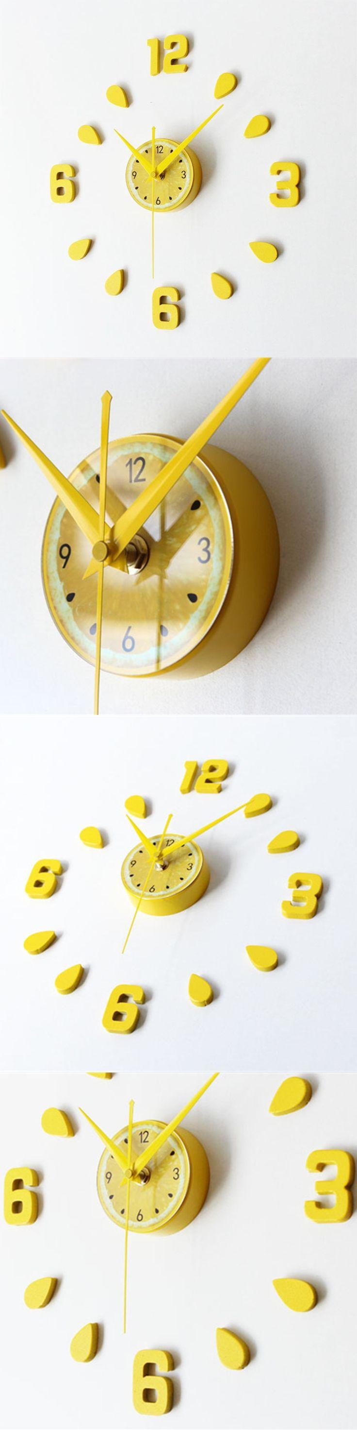 3D Lemon Color  Wall Clock Saat Duvar Saati Reloj Horloge Murale Digital Wall Clocks Reloj de pared Klok Home decor Watch