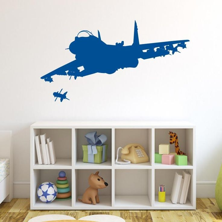 Airplane Fighter Jet Wall Decal Sticker - Black - Model: 1