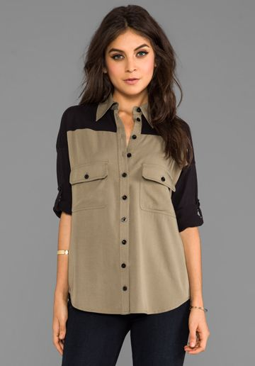 PRIMARY Combo Wingback Shirt in Military Green/Black at Revolve Clothing