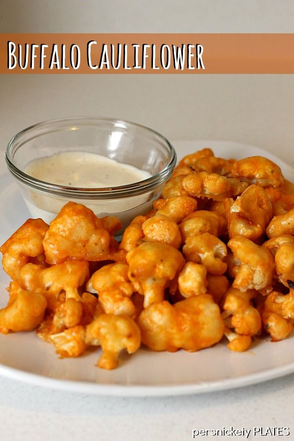 Baked Buffalo Cauliflower - a great vegetarian, low calorie alternative to chicken wings. Pinned over 375K times!
