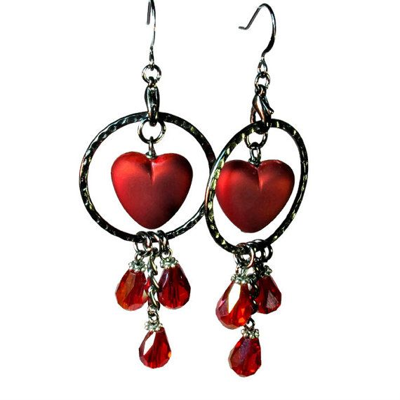 #Heart Earrings in Gunmetal for #Valentines Day by BluKatDesign