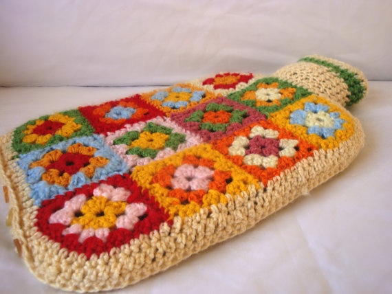 Hot Water Bottle Cover, Cozy, Granny Square Crochet...need to make a couple of these...