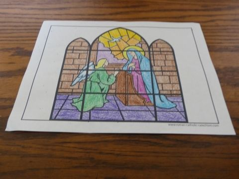 The Angel Declared Unto Mary - Rosary Coloring Page. Print full sized or use booklet setting for printable Catholic cards.