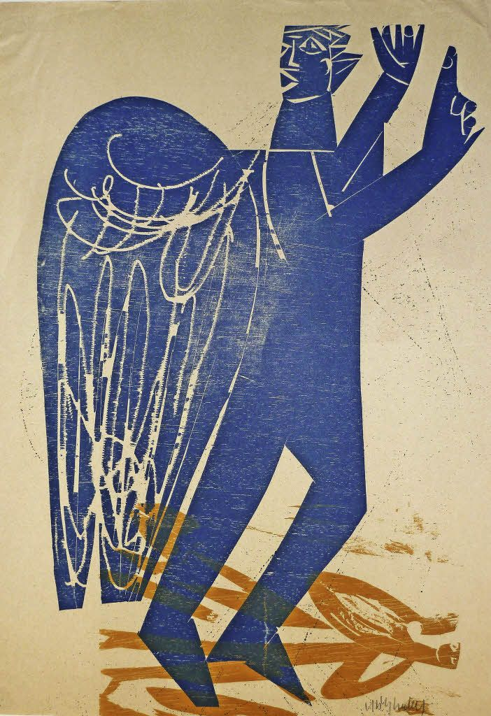 'The Angel' by HAP Grieshaber (coloured woodcut)