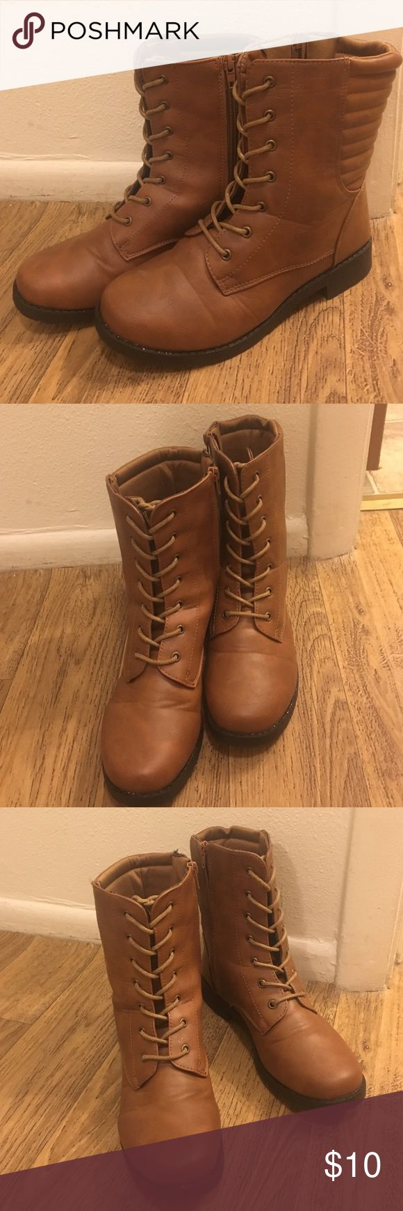 Hipster boots Brown, tie up, side zip boots Rue 21 Shoes Combat & Moto Boots