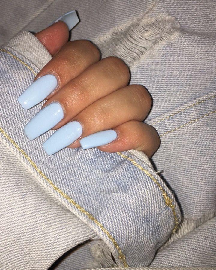 Baby Blue Coffin Nails Baby Blue Coffin Nails In 2020 Baby Blue Acrylic Nails Blue Acrylic Nails Light Blue Nails