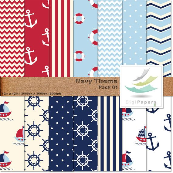 Navy Theme - Pack 01 by DigiPapers