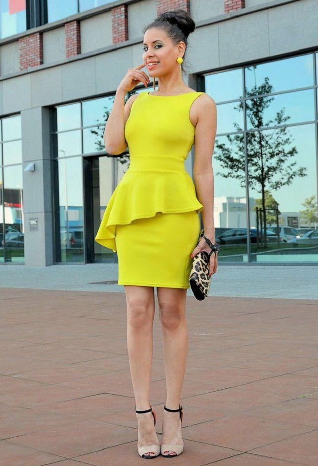 peplum dress yellow