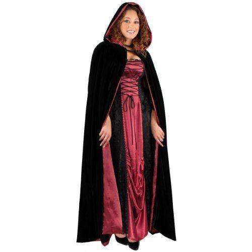 Devil Velvet Cape Black Red W//hood Costume Fancy Dress Party