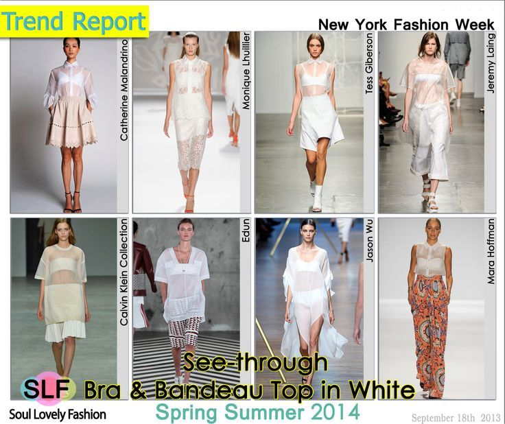 See-Through Bra and Bandeau Top in White Fashion #Trend for Spring Summer 2014 at New York #Fashion Week #NYFW #sheer #Spring2014 #Trends #trendy #white