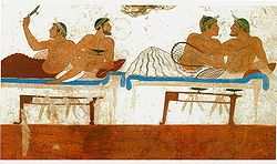 029 - Afresco na Tumba do Mergulhador, em Pesto, com cena de simpósio, século V a.C