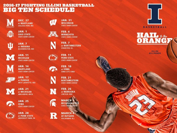 """Illini Basketball on Twitter: """"B1G schedule is here Mark you calendars today…"""