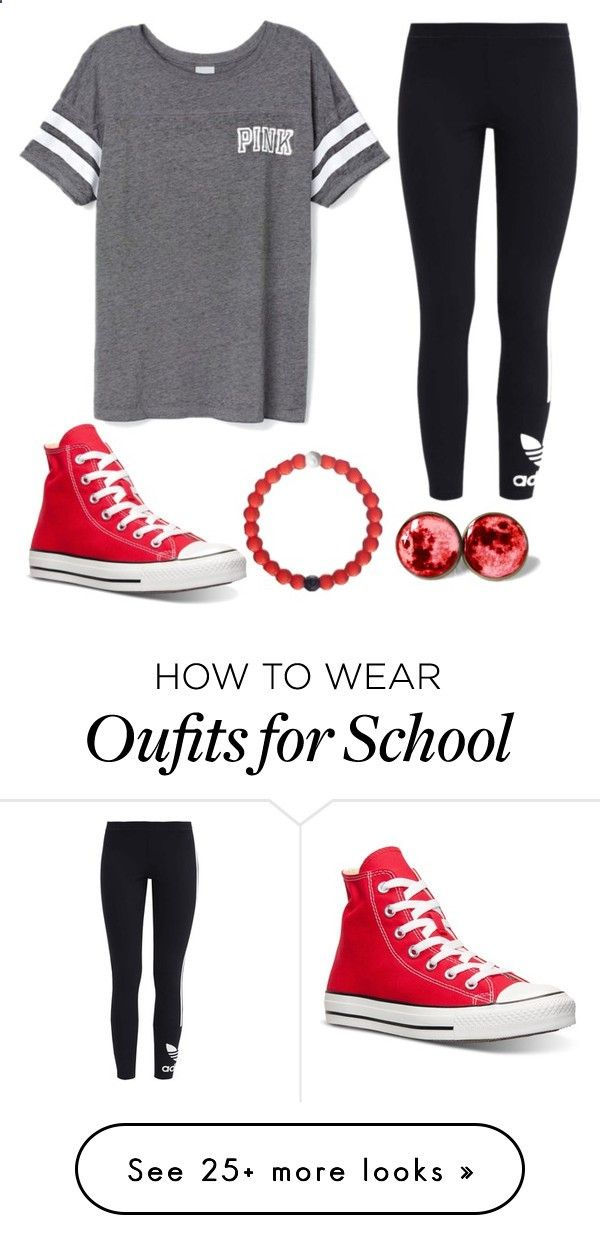 Casual school outfit by paigebrad02 on Polyvore featuring adidas Originals, Victorias Secret, Converse, Leggings and WardrobeStaples