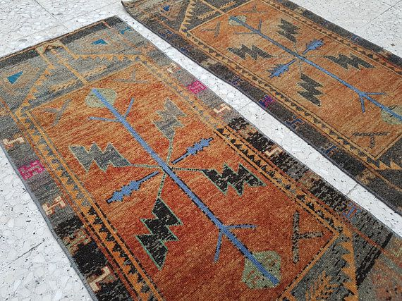 Narrow Turkish Persian Tribal Rug Runners Matching Small