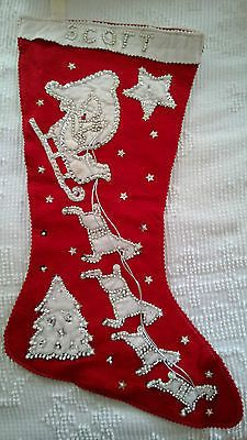 Large Vintage Hand Stitched Red Felt Beaded Silver Sequin Christmas Stocking | eBay