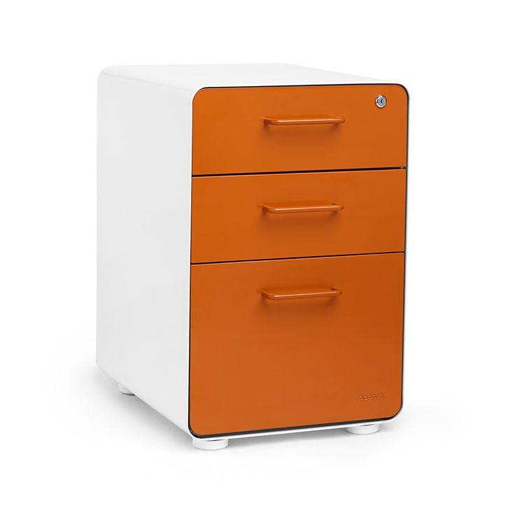 White + Orange Stow 3-Drawer File Cabinet,Orange