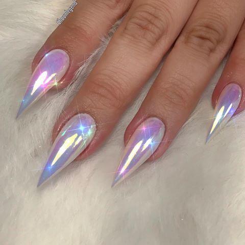 Mirrored Holographic Chrome Stiletto Nails
