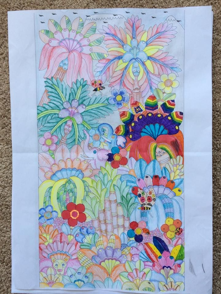 Kili Kolours completed by myself and my 4 year old available for purchase on www.kilitingatinga.com.au  ideal for #ink, #paint, #pencil and #watercolour. #Adultcolourining #colour-in #aduld #relax #africanart #giveback #stockingfllers #coloringforadults #drawing #ink #drawings #Coloring book #floraldesign