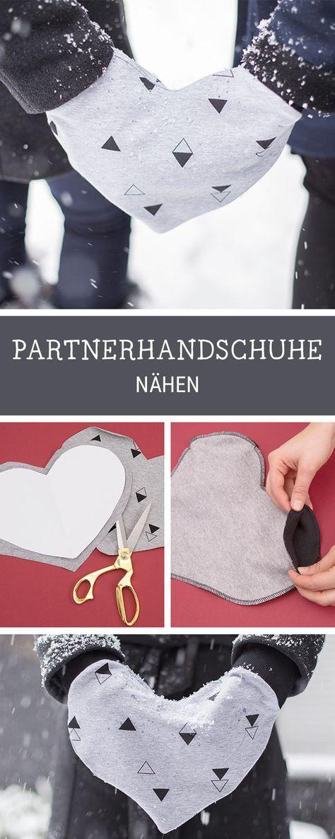 Nähen für Anfänger: Handschuhe in Herzform für zwei Personen nähen / diy sewing tutorial: heart shaped gloves via DaWanda.com |  A glove to share with the one you love!