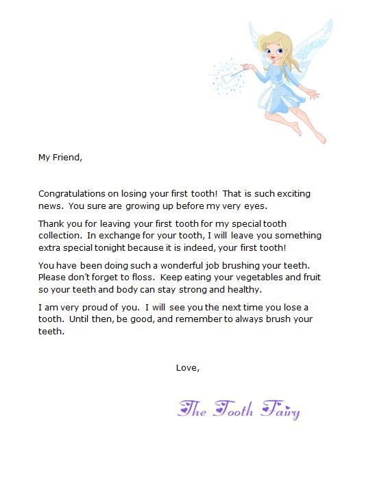 Free Tooth Fairy First Tooth Letter