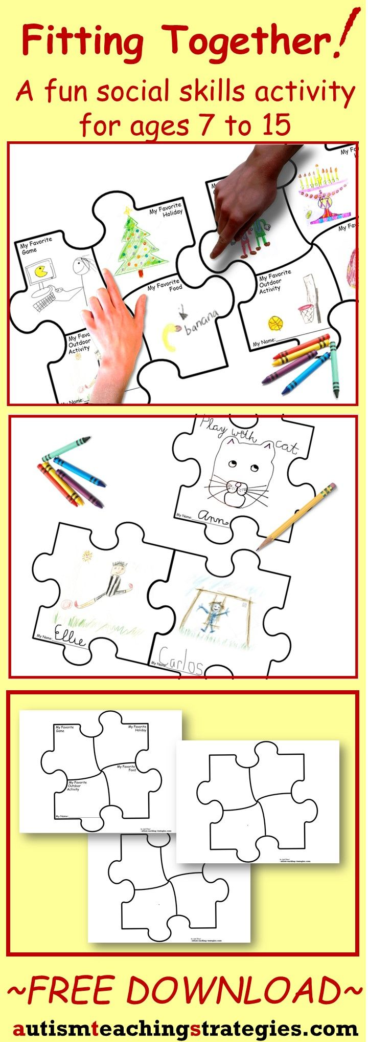 Free puzzle drawing sheets and directions provided for a fun social skills activity. For children with (and without) autism. Tags: autism, social skills, art therapy, free.