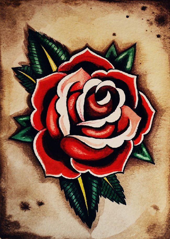 Old School Rose Tattoo Designs for Women