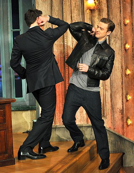 Jimmy Fallon and Justin Timberlake greeted one another at a taping of Late Night With Jimmy Fallon in NYC March 11.