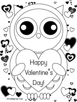 valentines day owl coloring page