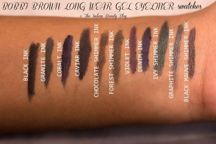 Bobbi Brown Long Wear gel eyeliners- swatches #BobbiBrown