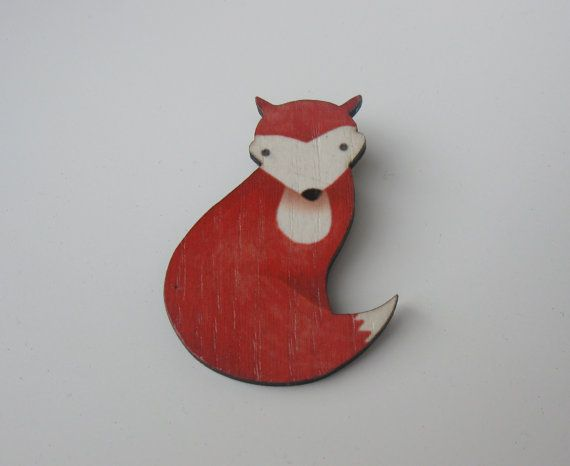 Wooden Fox Brooch Gentle Fox by BunnaAndDooDesigns on Etsy