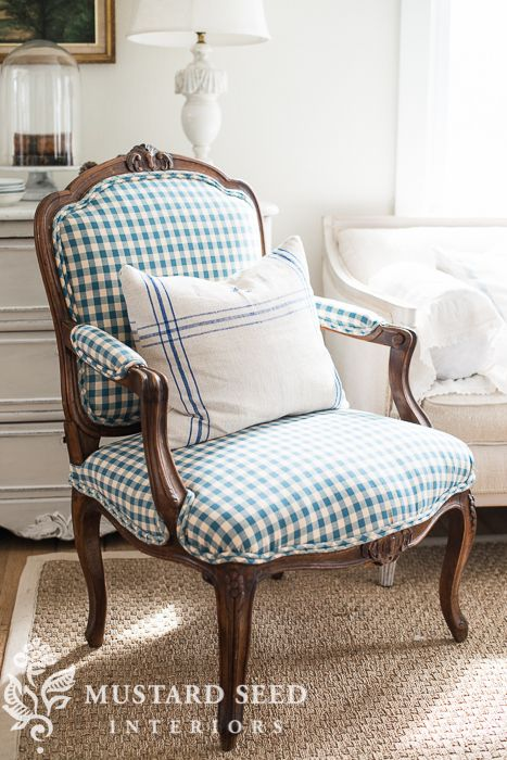 Reupholstered antique French chair in checks | miss mustard seed