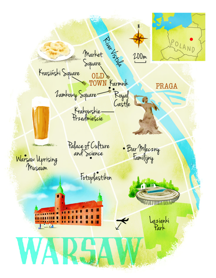 Warsaw map by Scott Jessop. June 2016 issue
