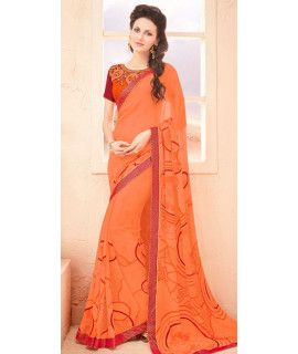 Jolly Orange And Red Georgette Saree.
