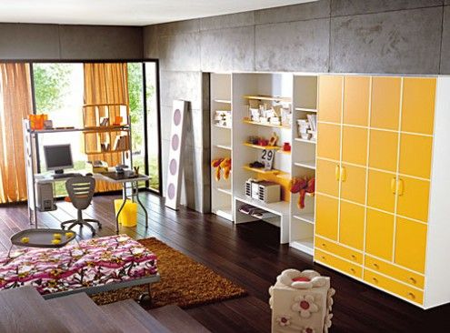Love the yellow cupboard and accents with grey / white