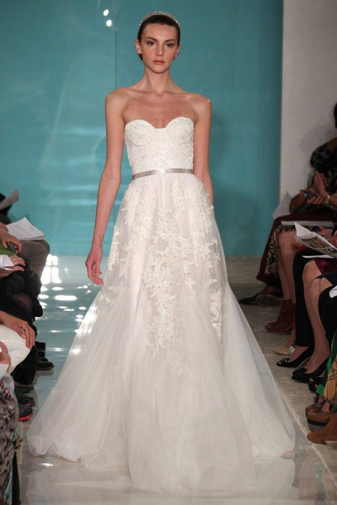The lace on this dress is beautiful sheer goodness for Reem acra lace wedding dress