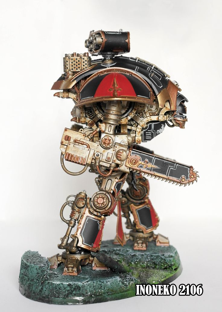 Black, red, gold Imperial knight Warhammer 40K